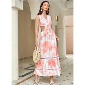 NWT Shein Lace Trim Cut-out Pink Tie Dye Dress